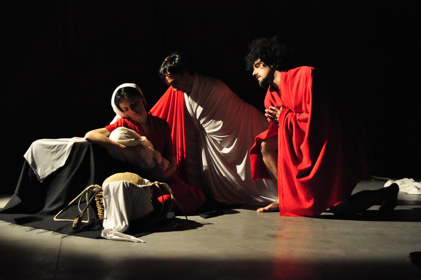 Tableau vivant Adorazione dei pastori Caravaggio